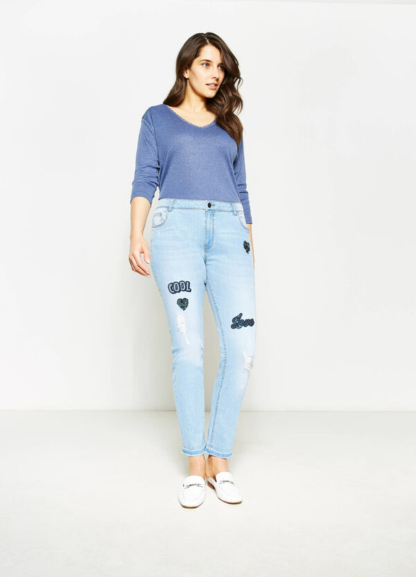 Curvy skinny-fit stretch jeans with sequins | OVS
