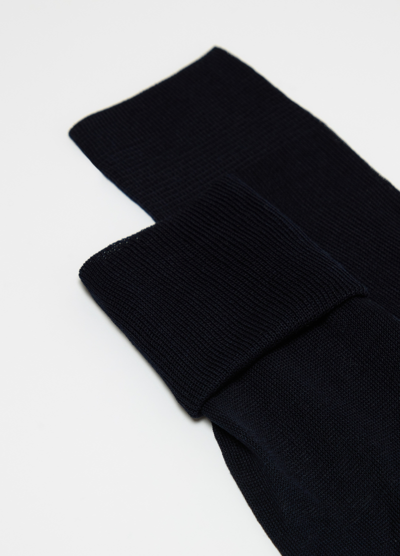 Long 100% plain-knit cotton socks image number null