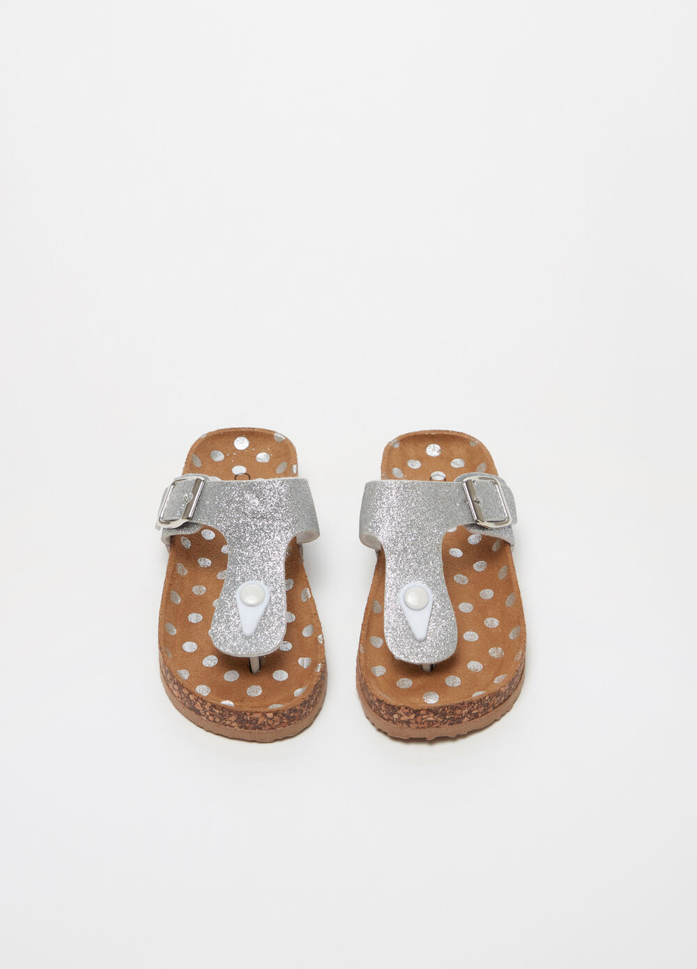 Glitter thong sandals with buckle