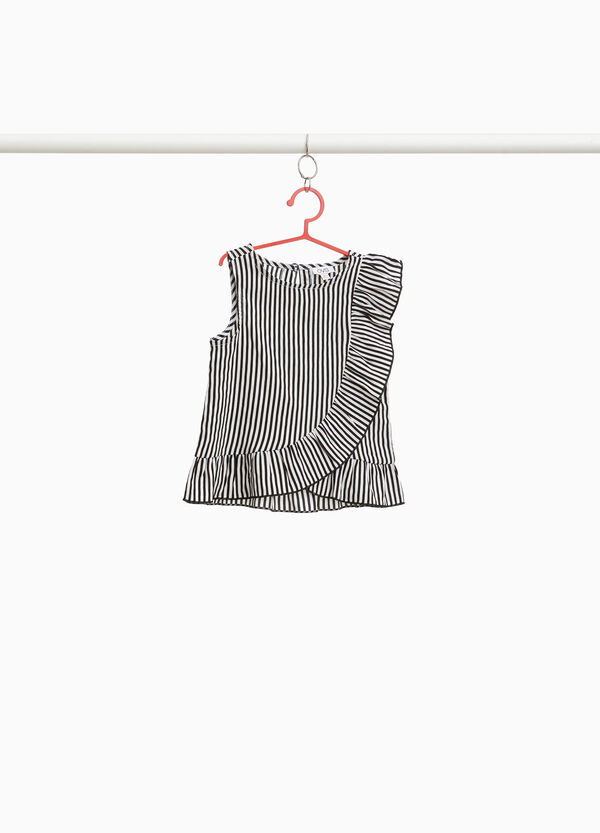 Striped patterned top with flounce