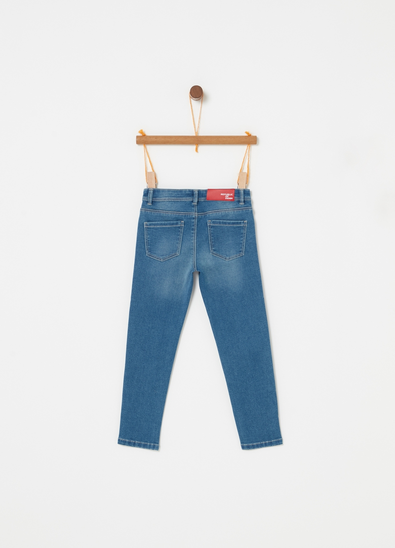 Jeans skinny effetto vintage ricamo image number null
