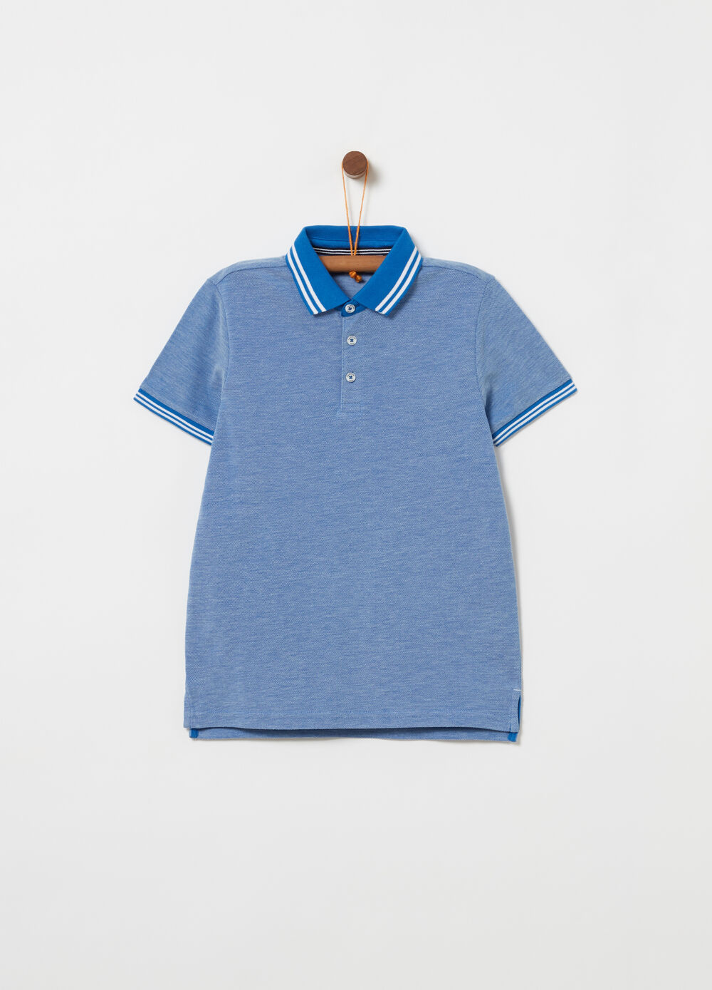 Mélange cotton piquet polo shirt with ribbing