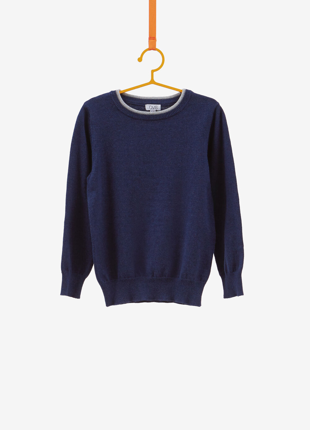 Knitted pullover in cotton and cashmere