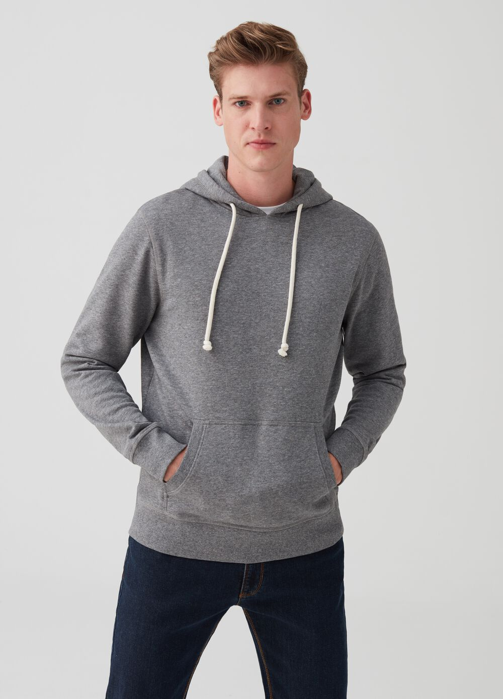Mélange sweatshirt with pouch pocket