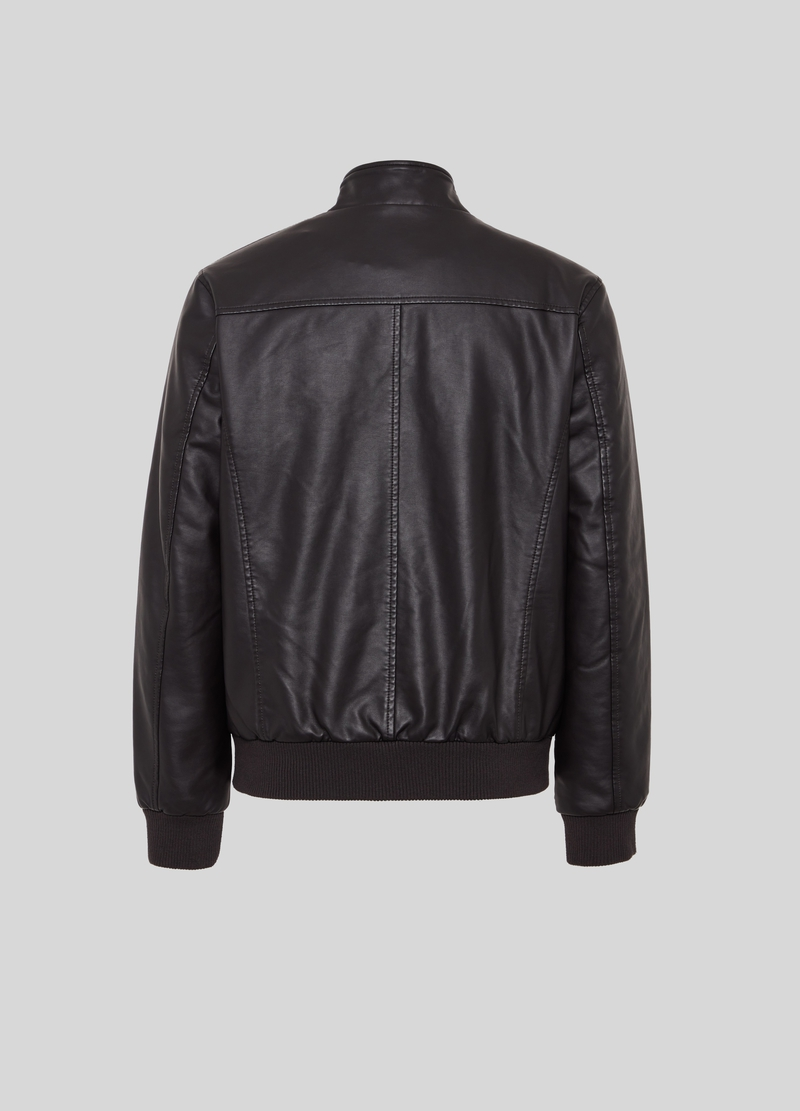 PIOMBO faux leather jacket with high neck image number null
