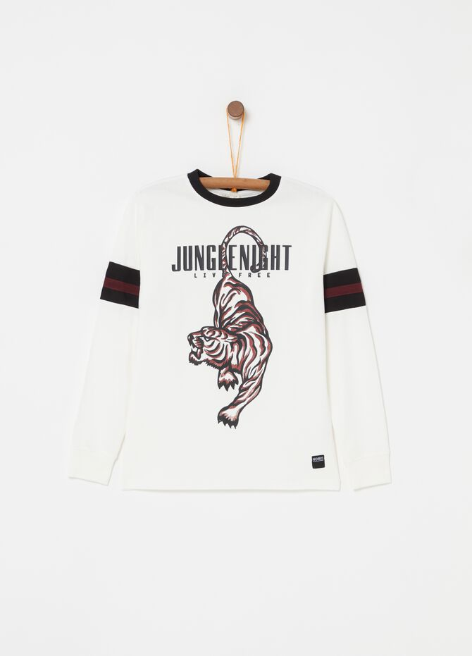 100% cotton T-shirt with tiger print