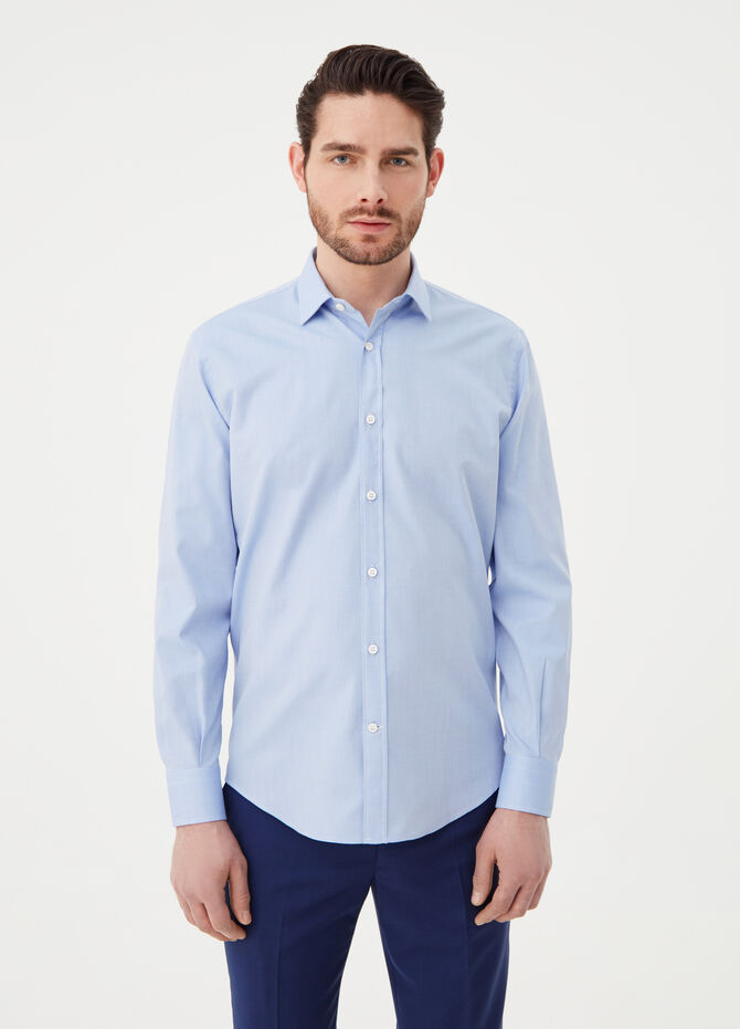 Regular-fit shirt in compact-weave cotton