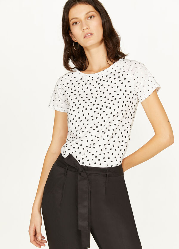 Stretch cotton T-shirt with polka dot pattern