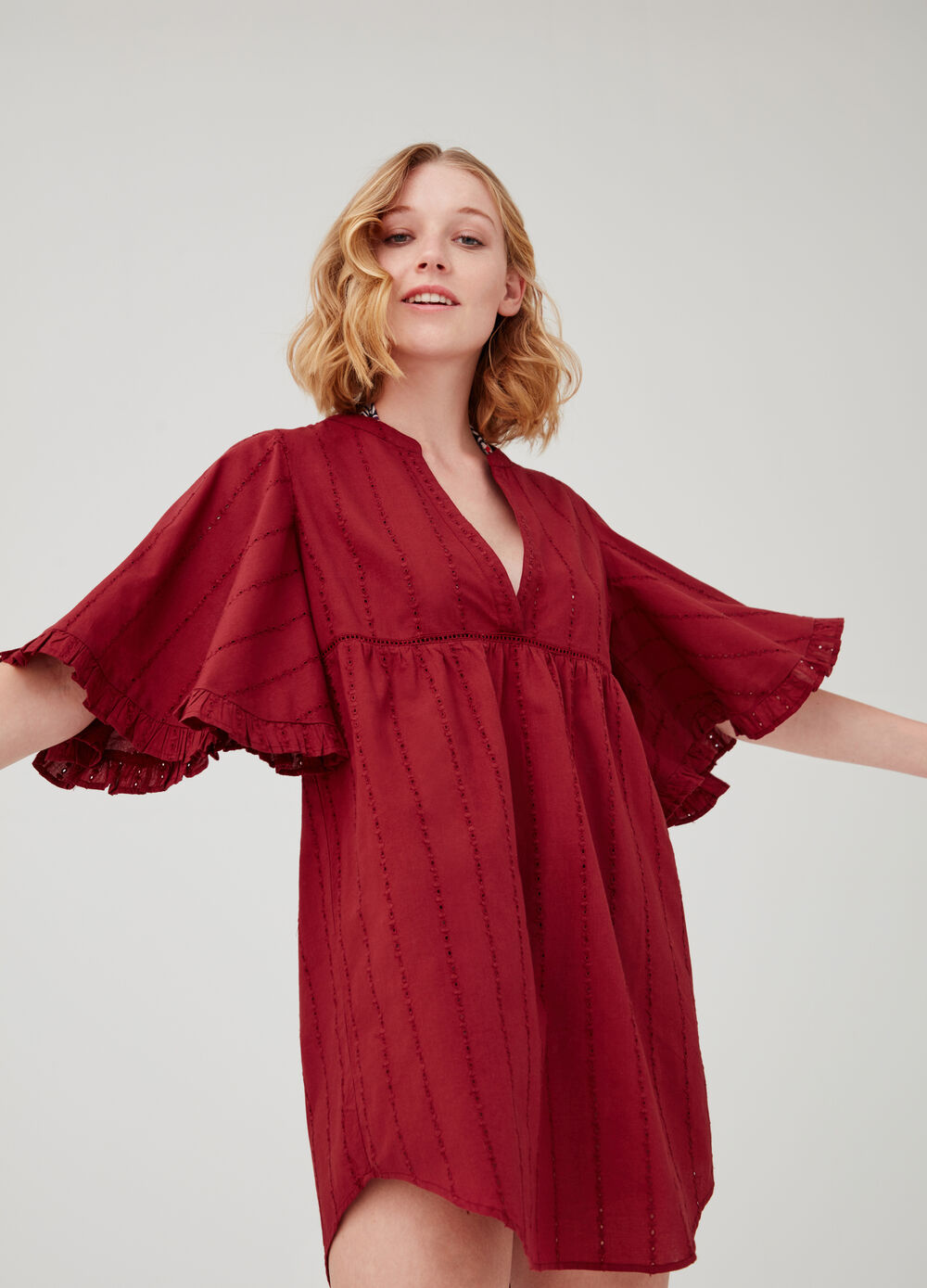 Woven openwork beach cover-up with V neck
