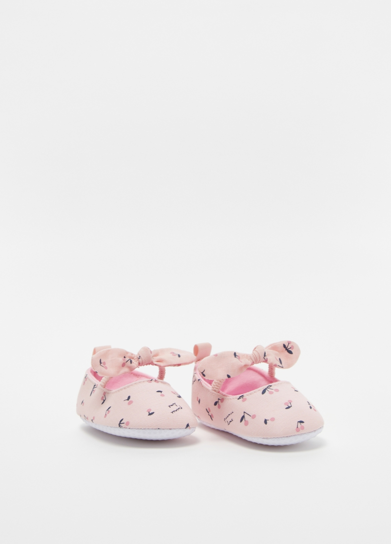 Cotton ballerina shoes with bow image number null