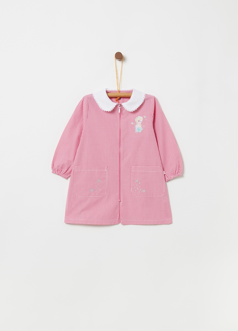 Checked school smock with zip fastening image number null