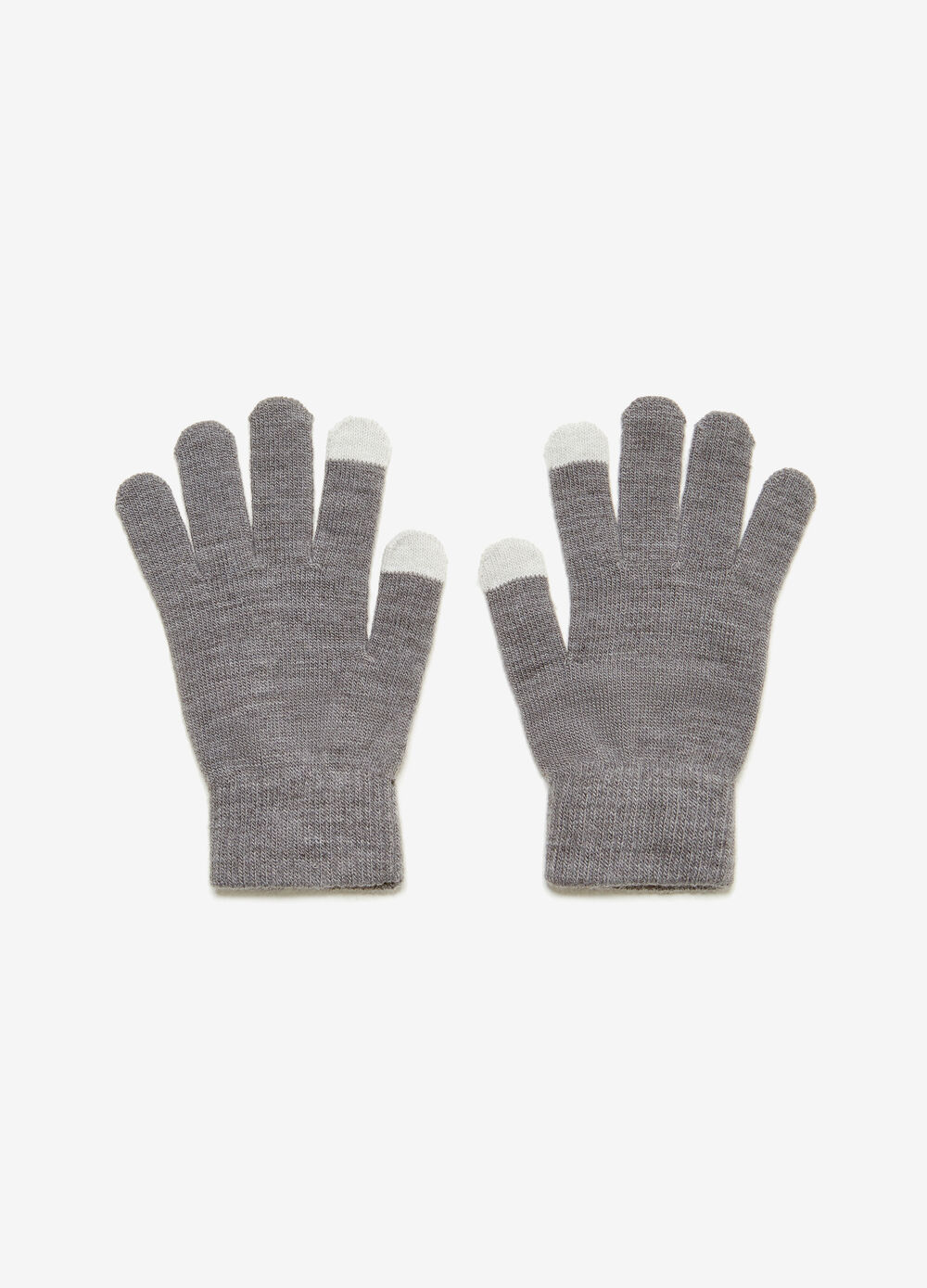 Solid colour stretch touchscreen gloves