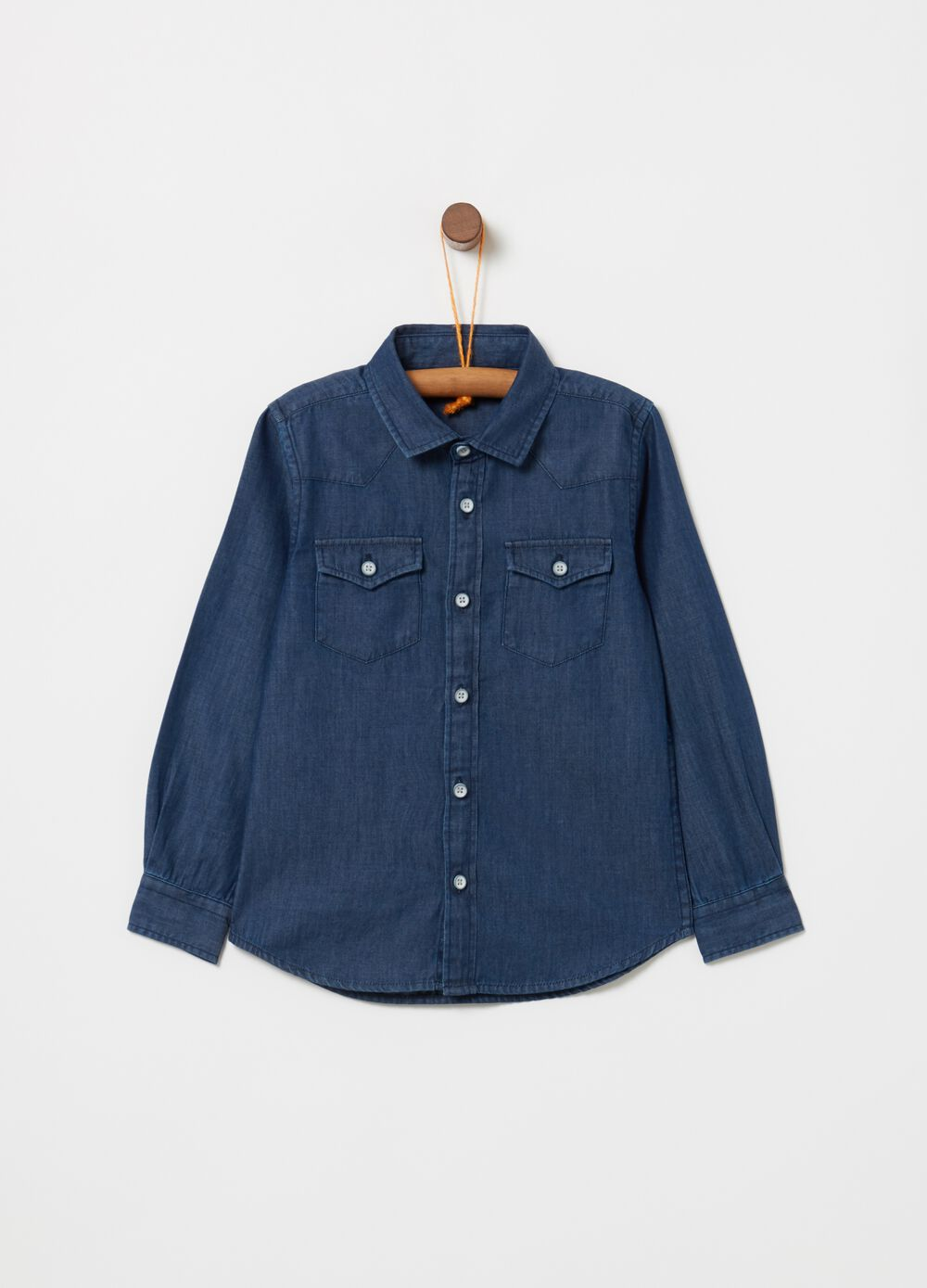 Denim shirt with pockets on the chest