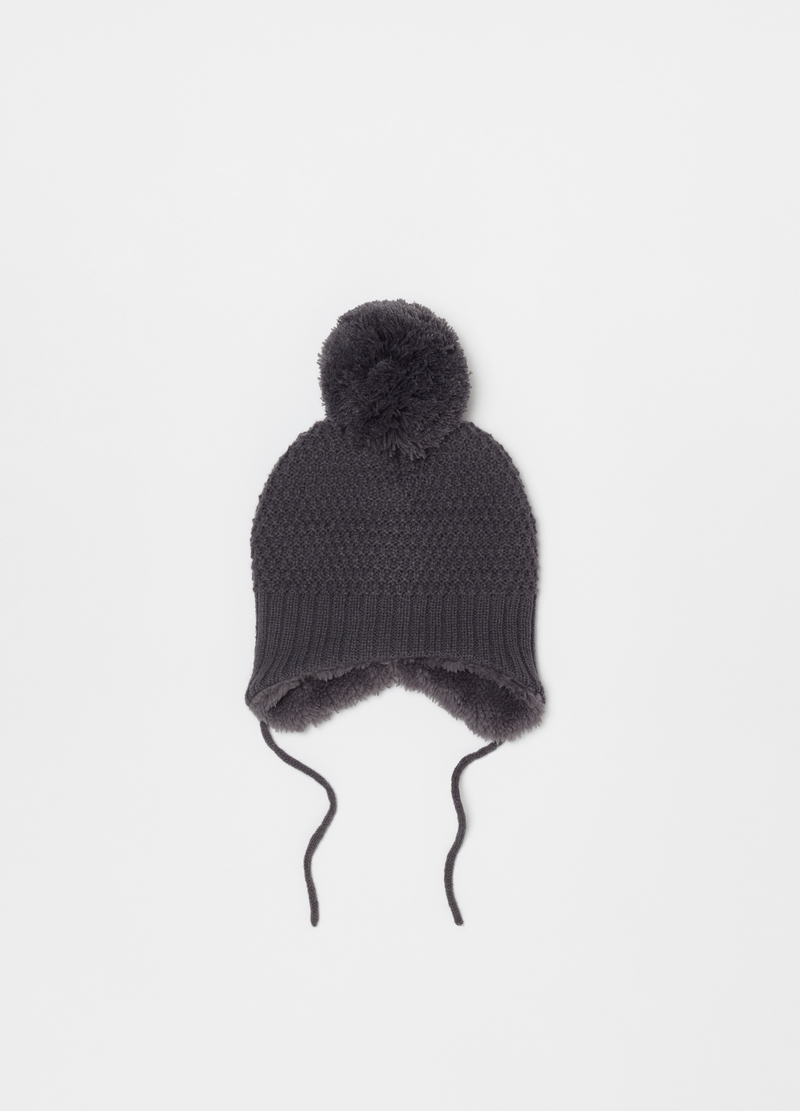 Knitted hat with pompom and laces image number null