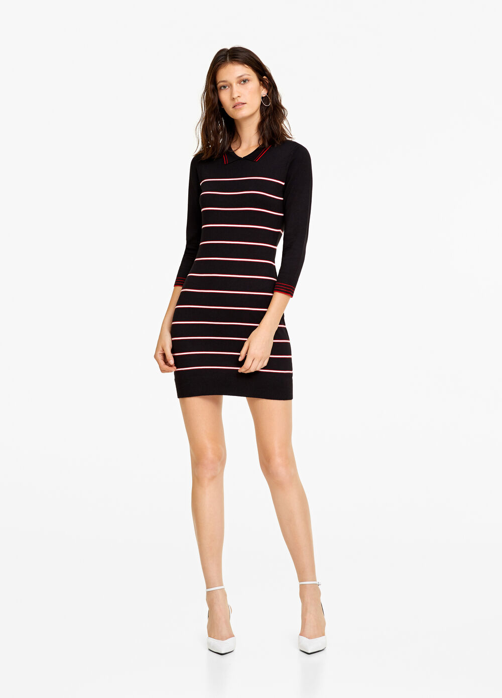 Knitted dress with striped collar