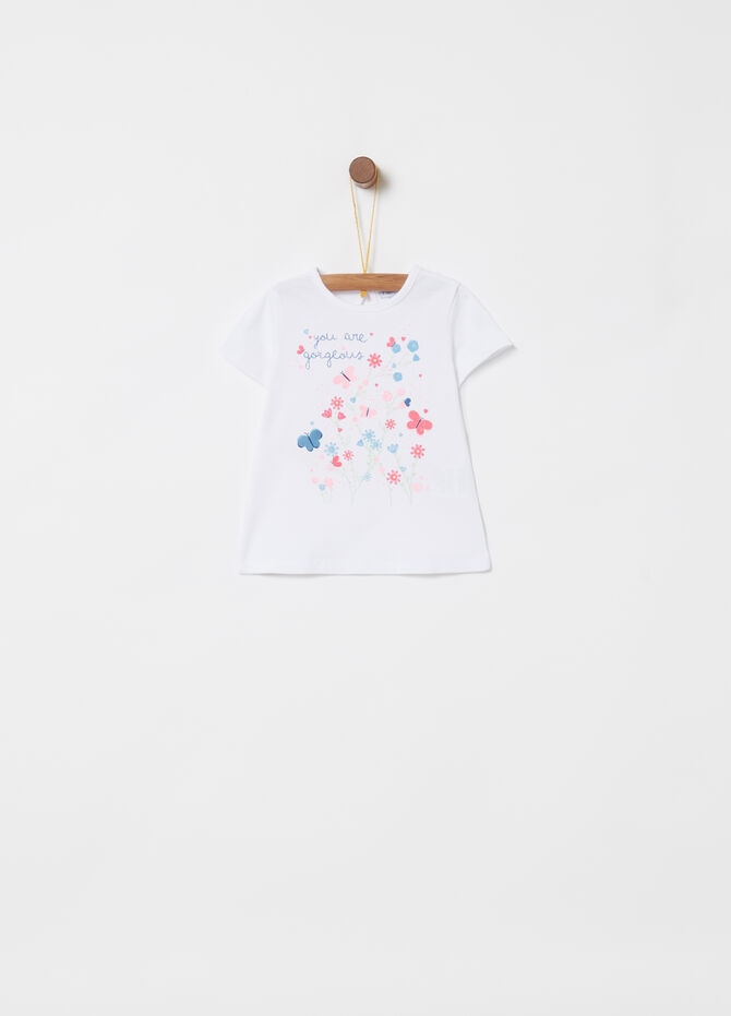 T-shirt cotone stretch stampa floreale