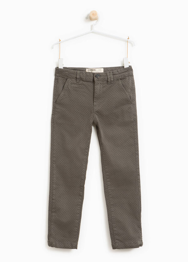 Pantaloni chino stretch stampa all-over