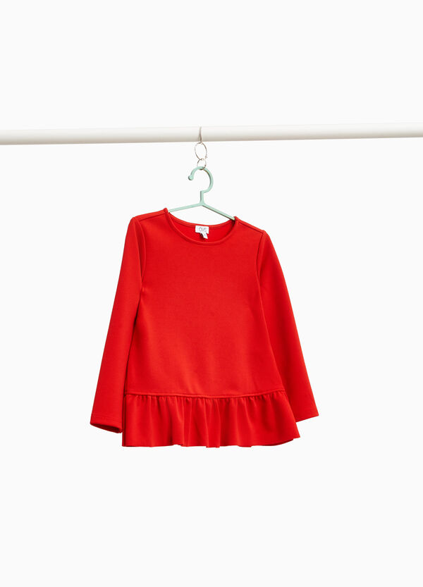 Solid colour stretch T-shirt with flounce
