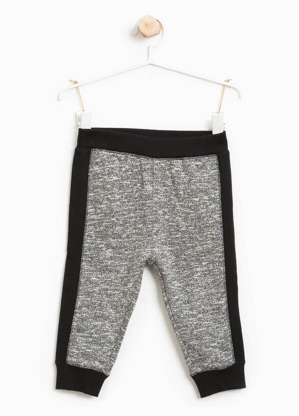Cotton blend joggers with side bands