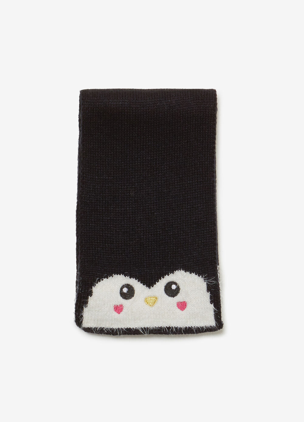 Solid colour scarf with penguin patch