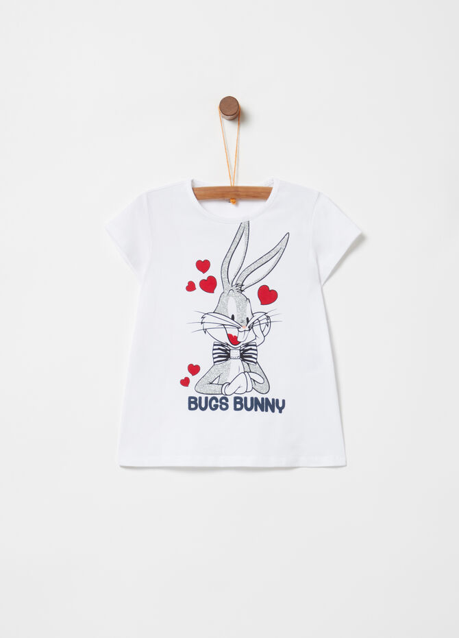 T-shirt con stampa glitter Bugs Bunny