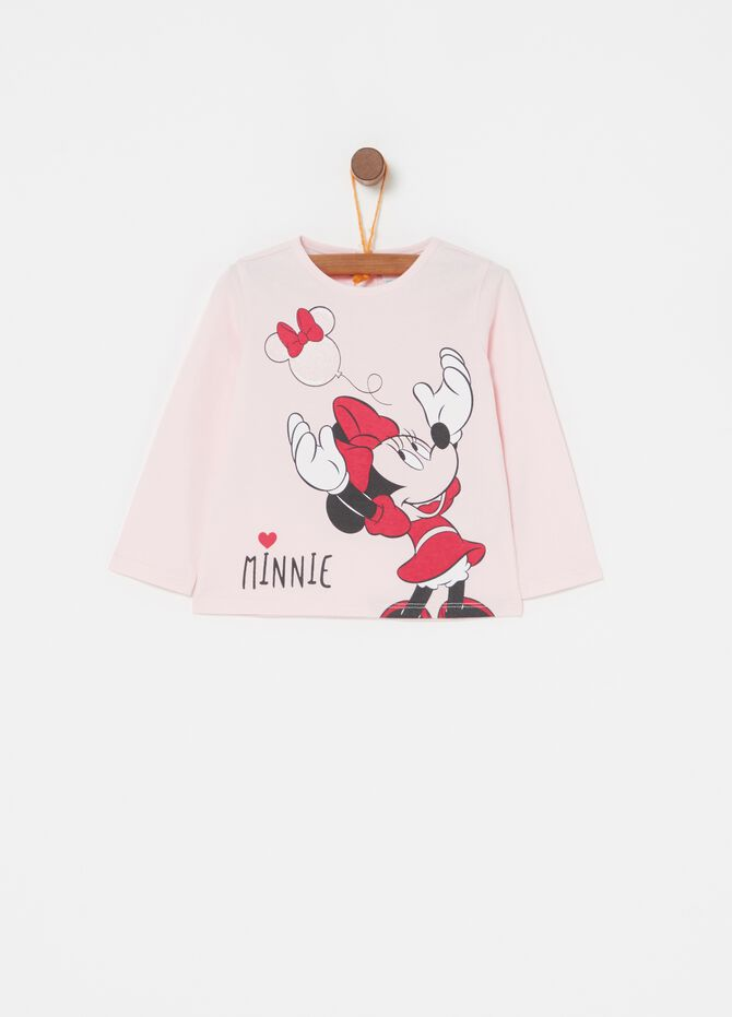 T-shirt in biocotton stampa glitter Minnie