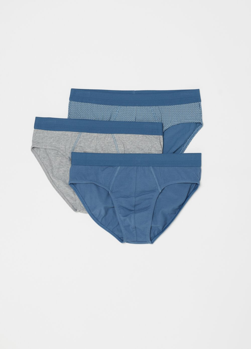 Three-pack stretch cotton briefs with pattern