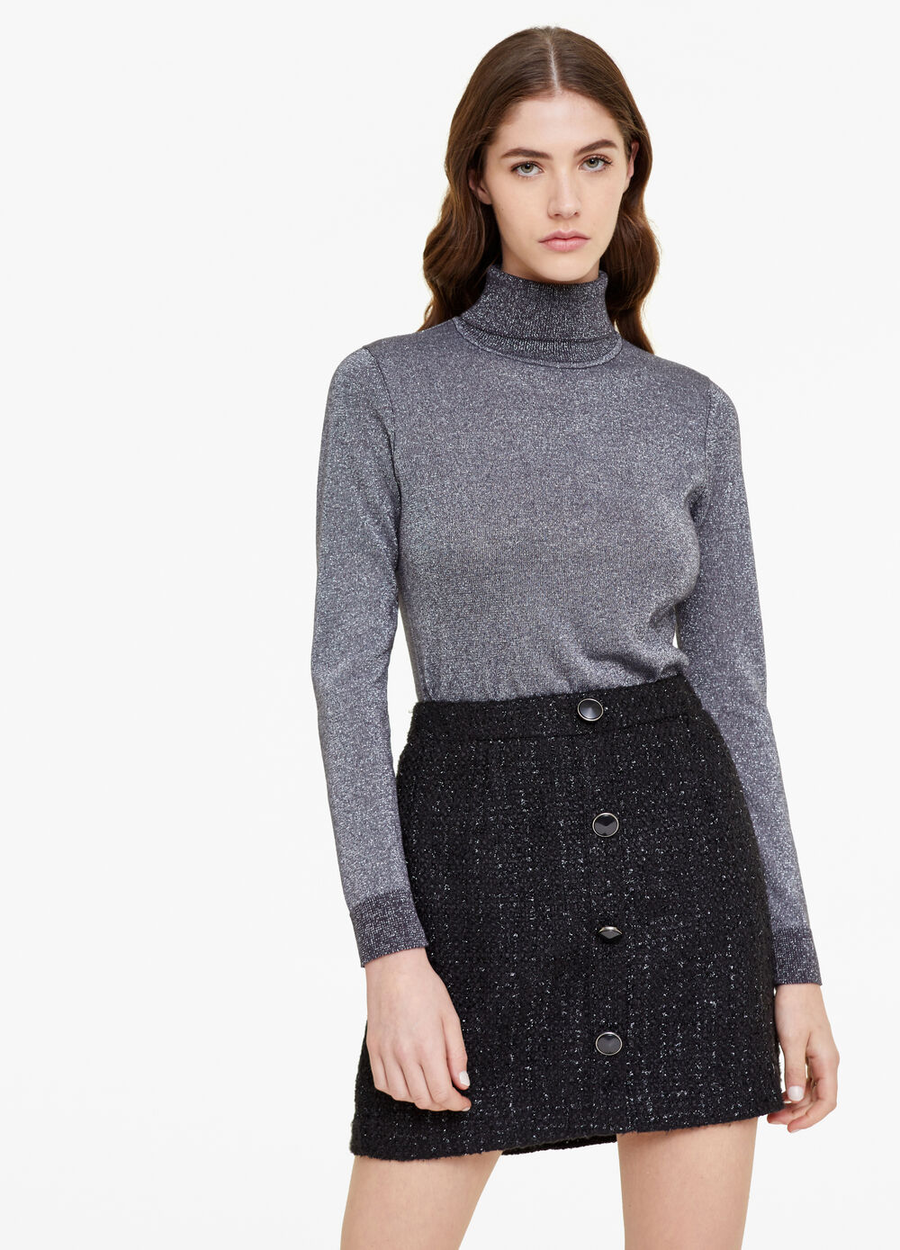 Pullover with high neck and lurex