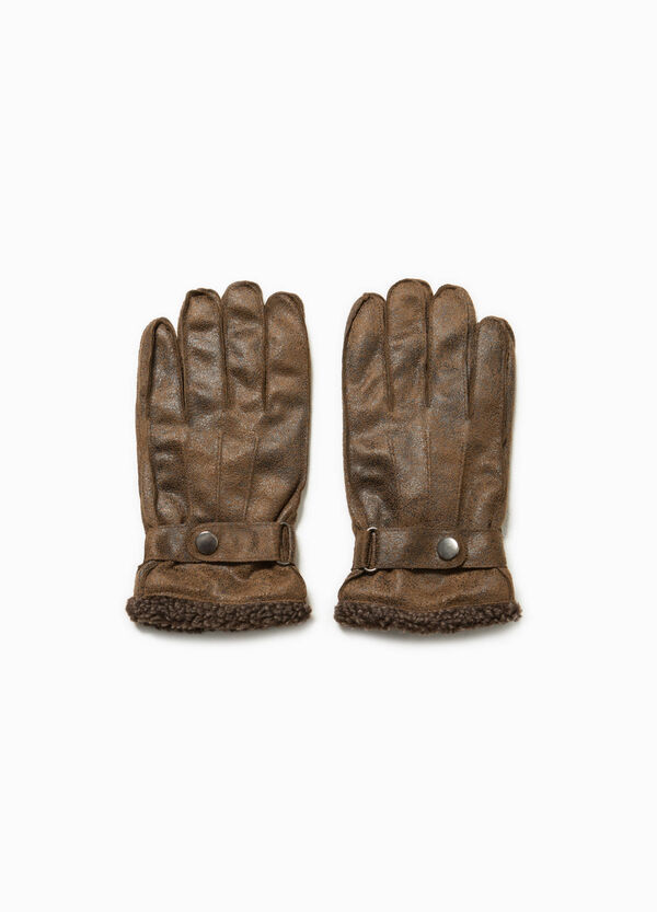 Leather-look gloves with faux fur | OVS