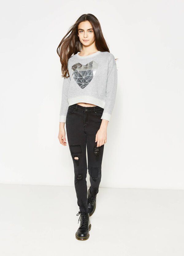 Teen high-waisted jeans with rips | OVS