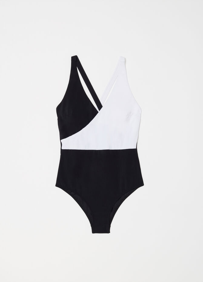 Crossover one-piece swimsuit with V neck