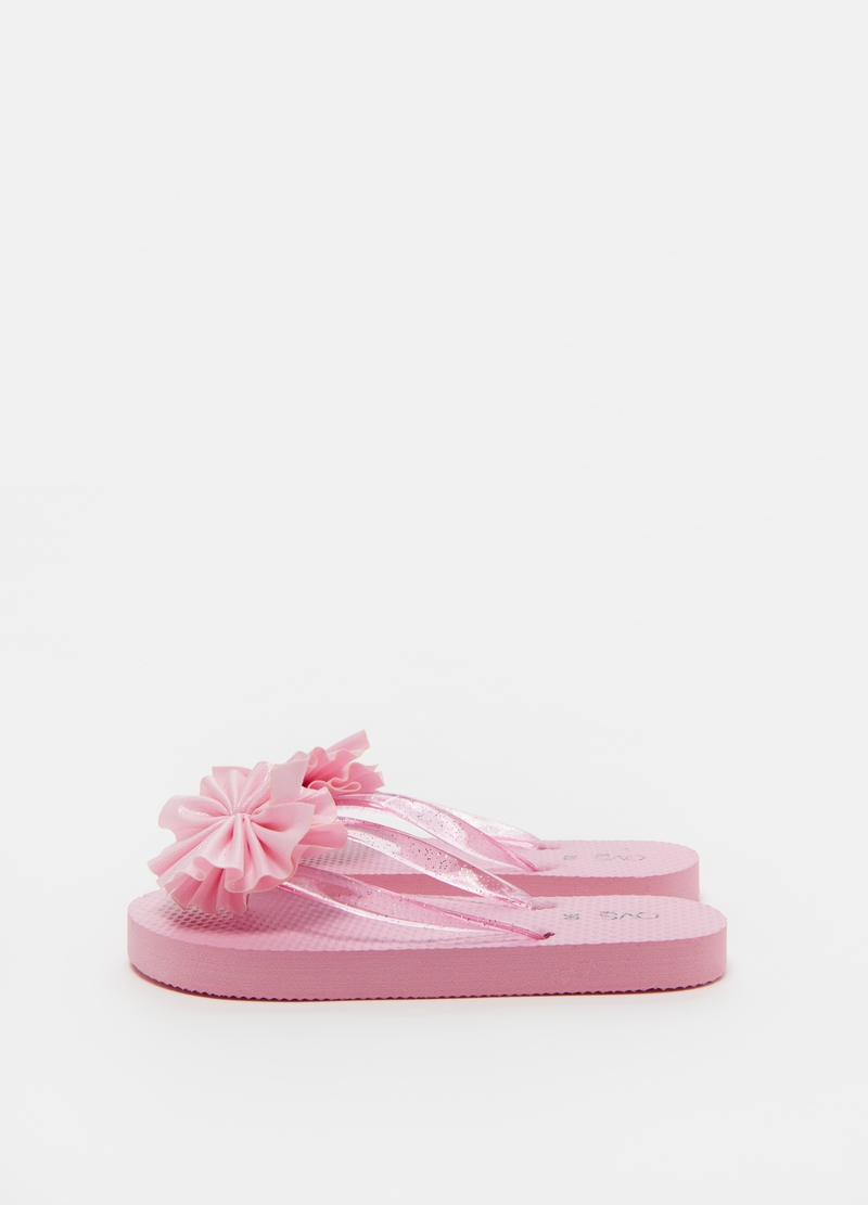 Thong slippers with glitter bow image number null