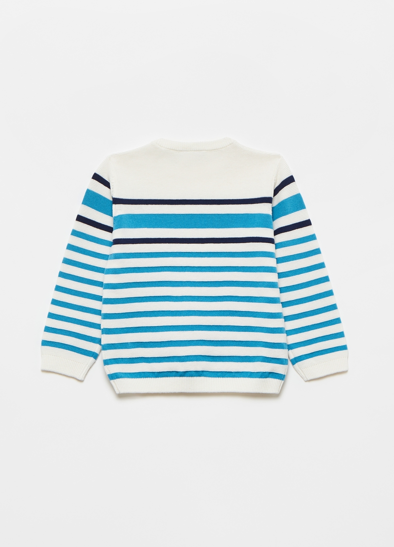 Striped pullover with sail boat patch image number null