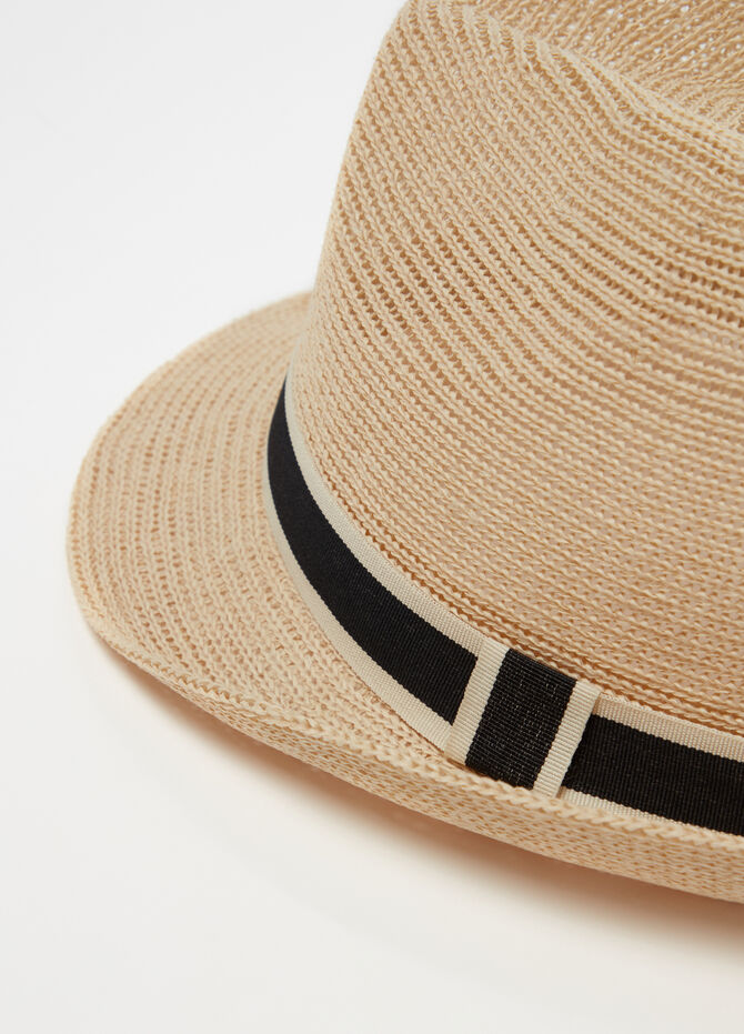 Straw hat with striped weave and band