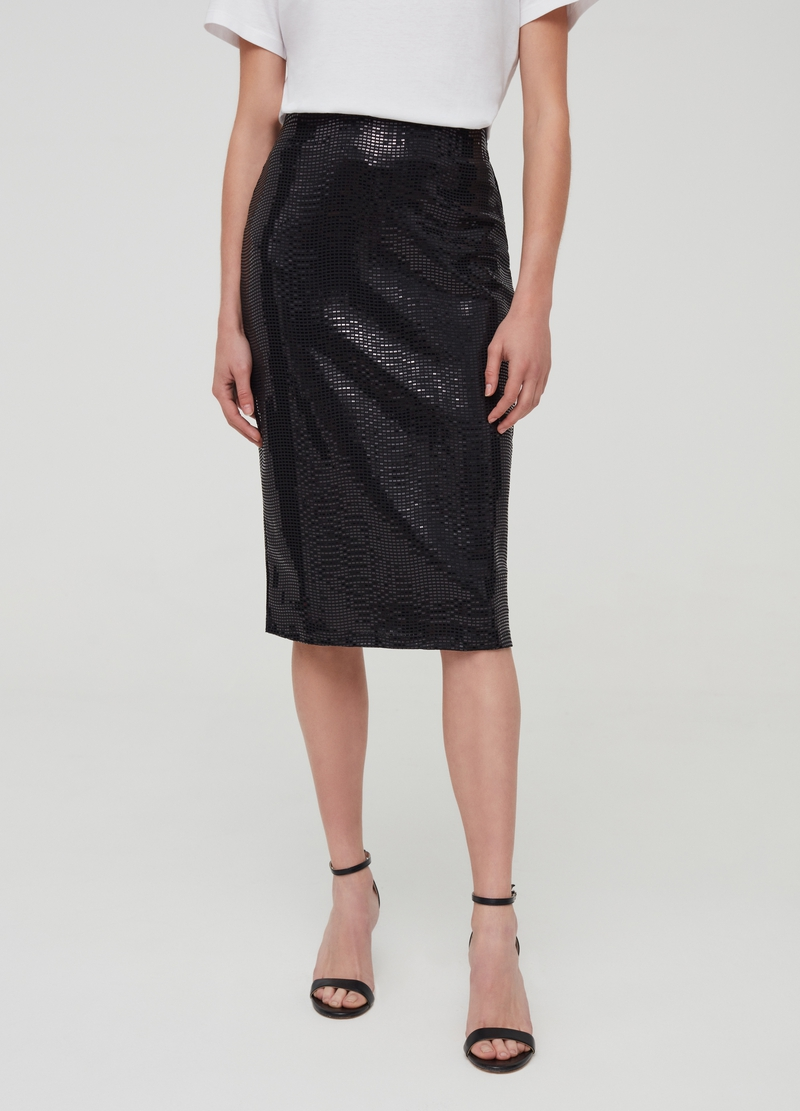 Midi skirt with laminated-effect sequins image number null