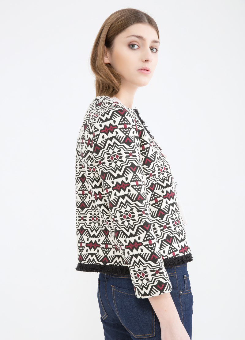 Stretch jacket with geometric pattern image number null