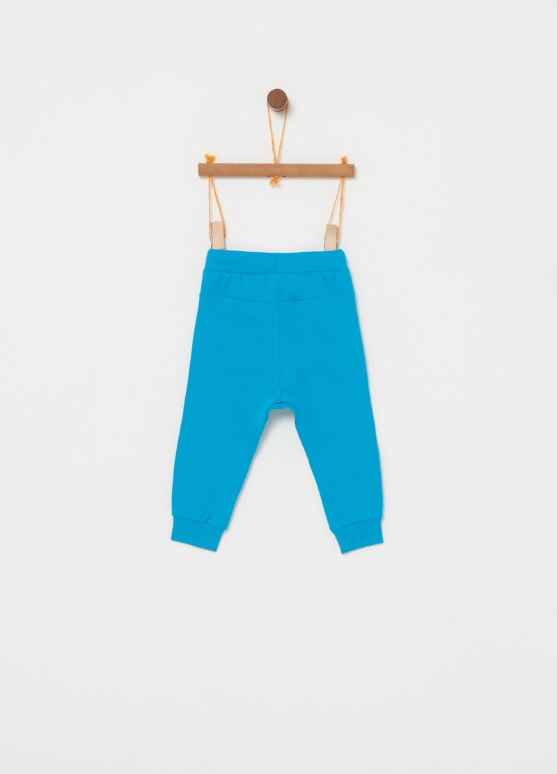 Trousers in 100% cotton fleece with stitching image number null