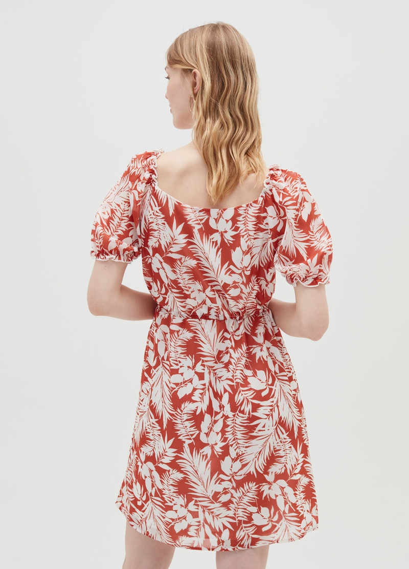 Dress with puff sleeves and patterned print image number null