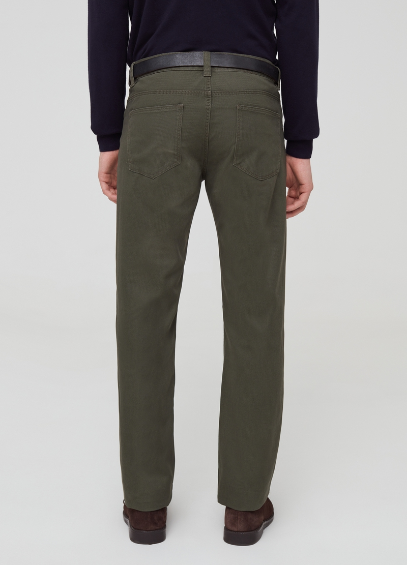Cotton piquet trousers with five pockets image number null