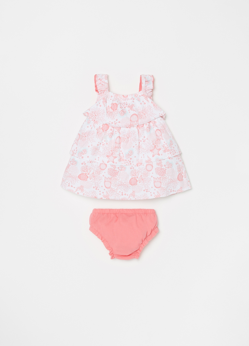 Dress and briefs set with frills and flounces image number null