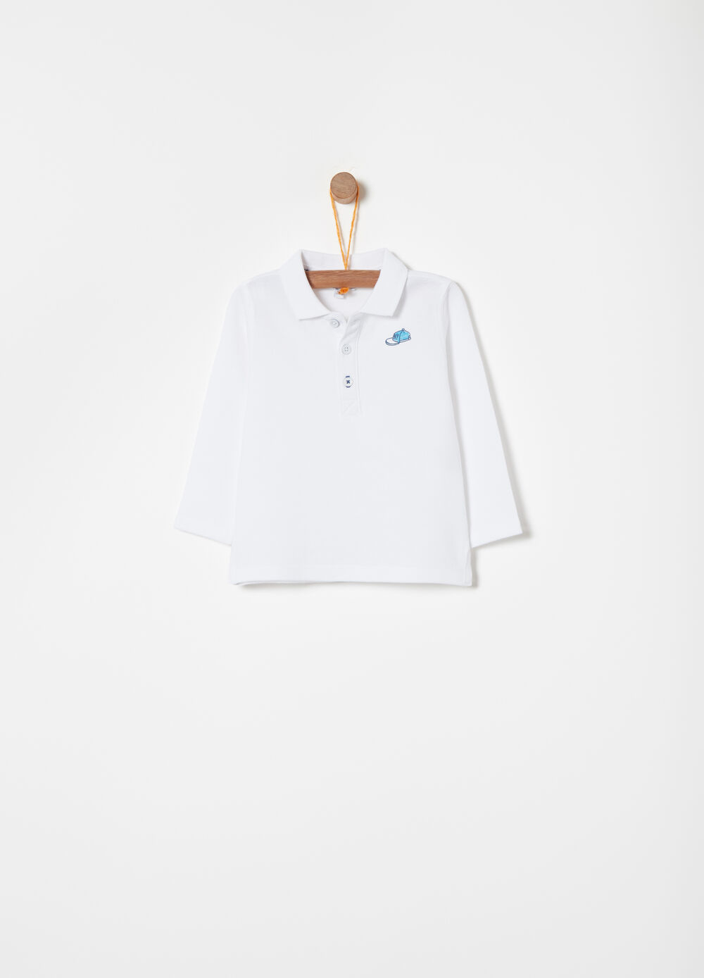 Piquet polo shirt with hat print