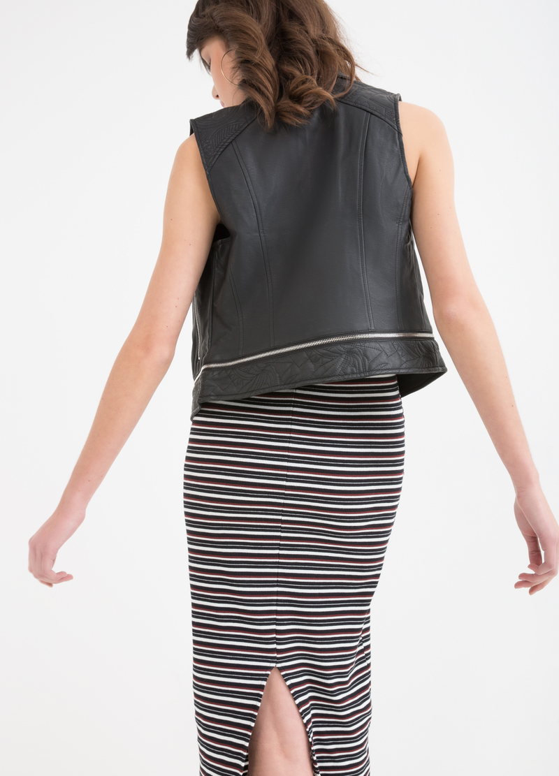 Solid colour leather look waistcoat. image number null