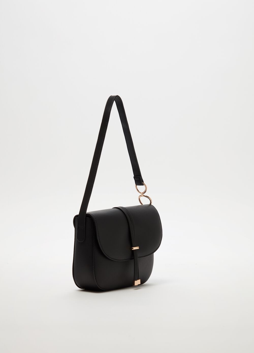 Leather-look shoulder bag with laces