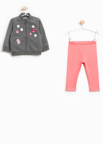 Tracksuit in 100% cotton with glitter print