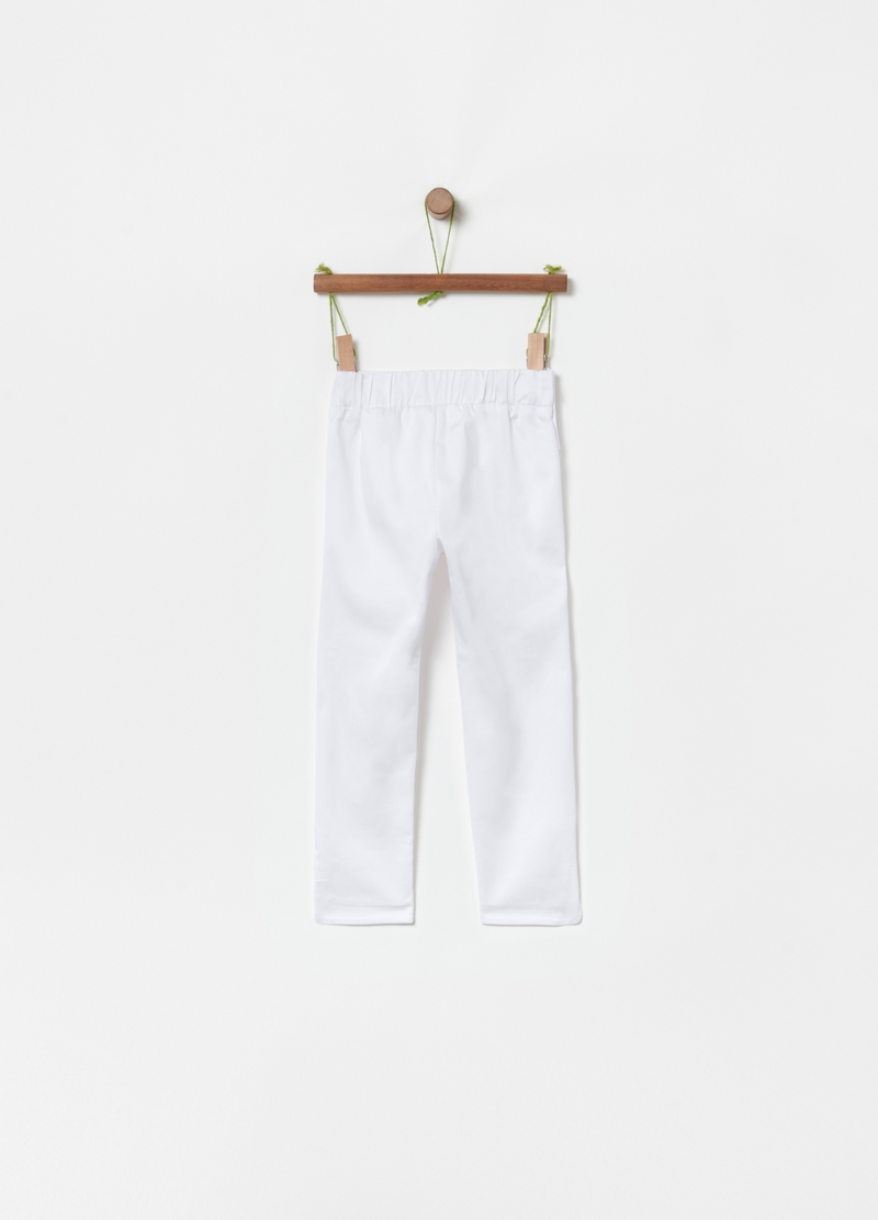 Stretch cotton trousers with maxi bow image number null