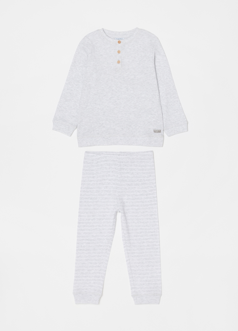 Long ribbed pyjamas with granddad neck image number null