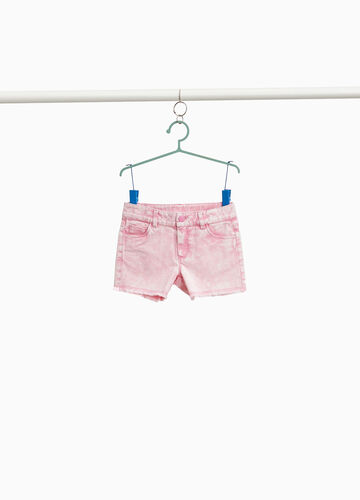 Misdyed-effect stretch cotton shorts