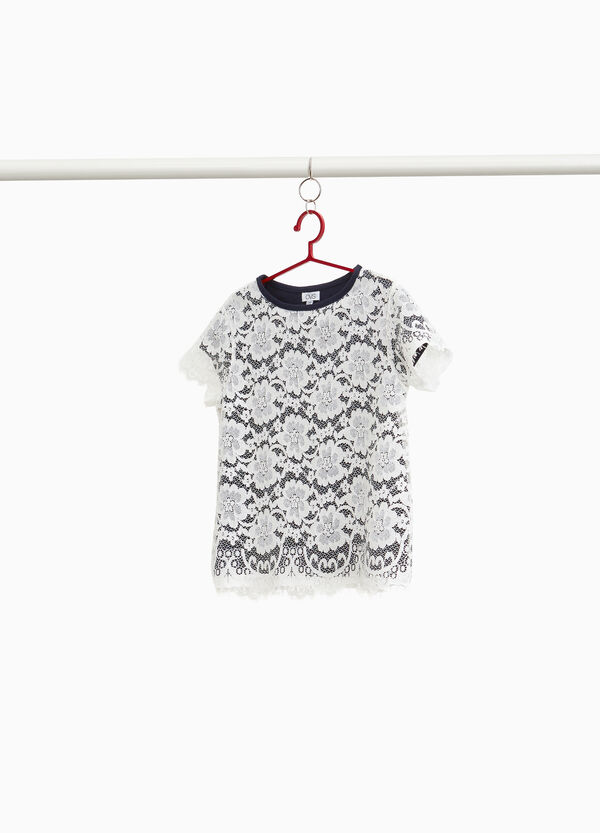 T-shirt in pizzo con fodera