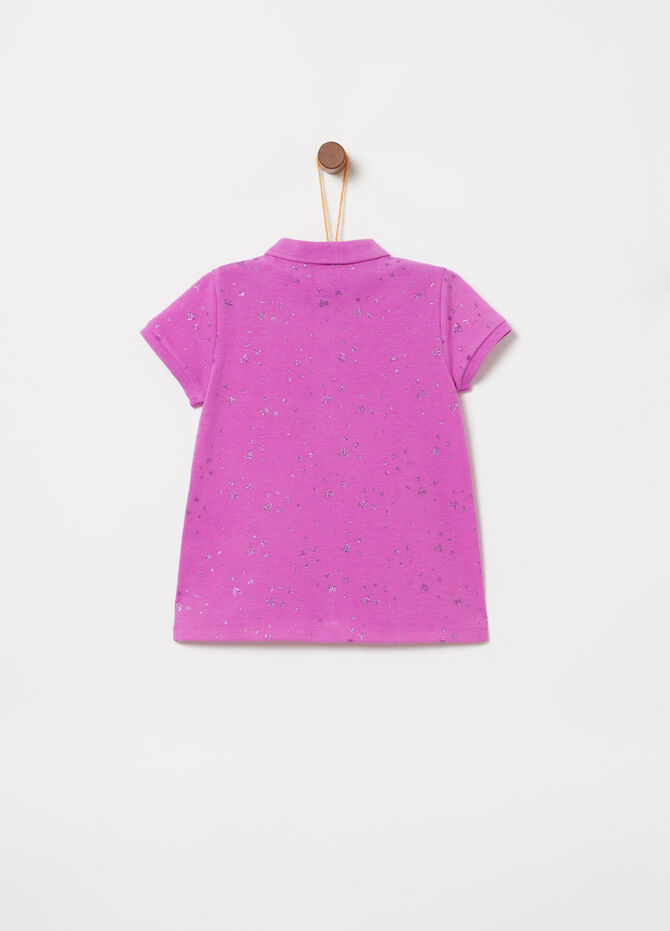 Polo stretch fluo con glitter all-over