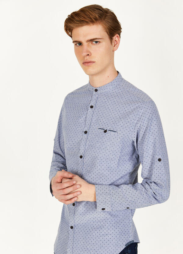 Casual cotton shirt with micro pattern
